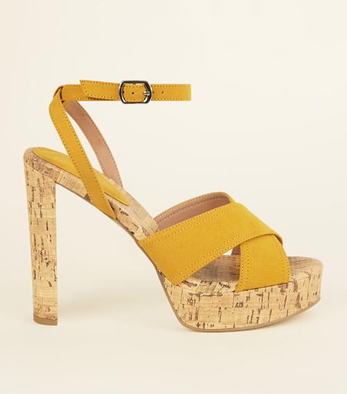 Suedette Cork Platform Block Heels