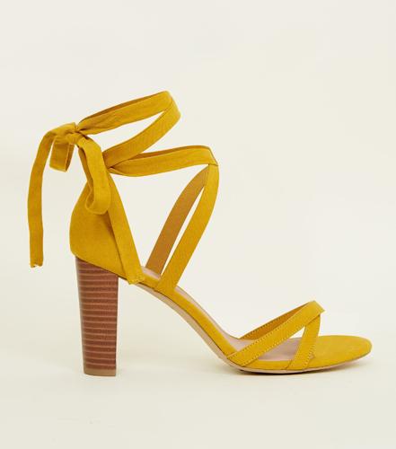 Suedette Ankle Tie Wood Block Heels