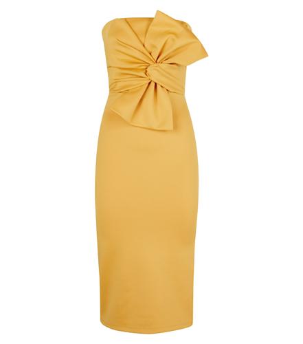 Strapless Bow Front Midi Dress