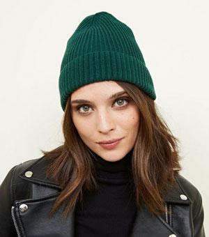 Dark Green Ribbed Beanie Hat