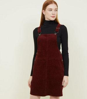 Burgundy Corduroy Pinafore Dress