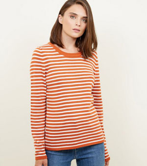 Orange Stripe Crew Neck Jumper