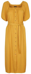 Yellow Square Neck Button Front Dress