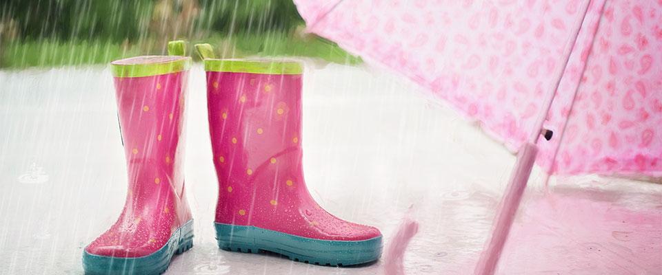 rain, umbrella and wellington boots