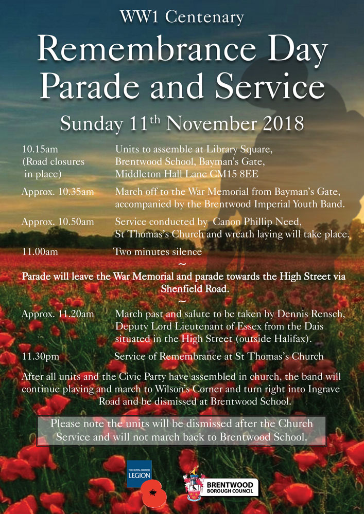Remembrance Day parade and service - Sunday 11th November