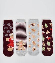 4 Pack Burgundy Glitter Christmas Gingerbread Socks