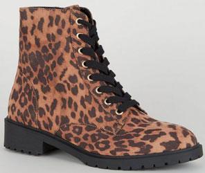 Stone Leopard Print Suedette Hiker Boots
