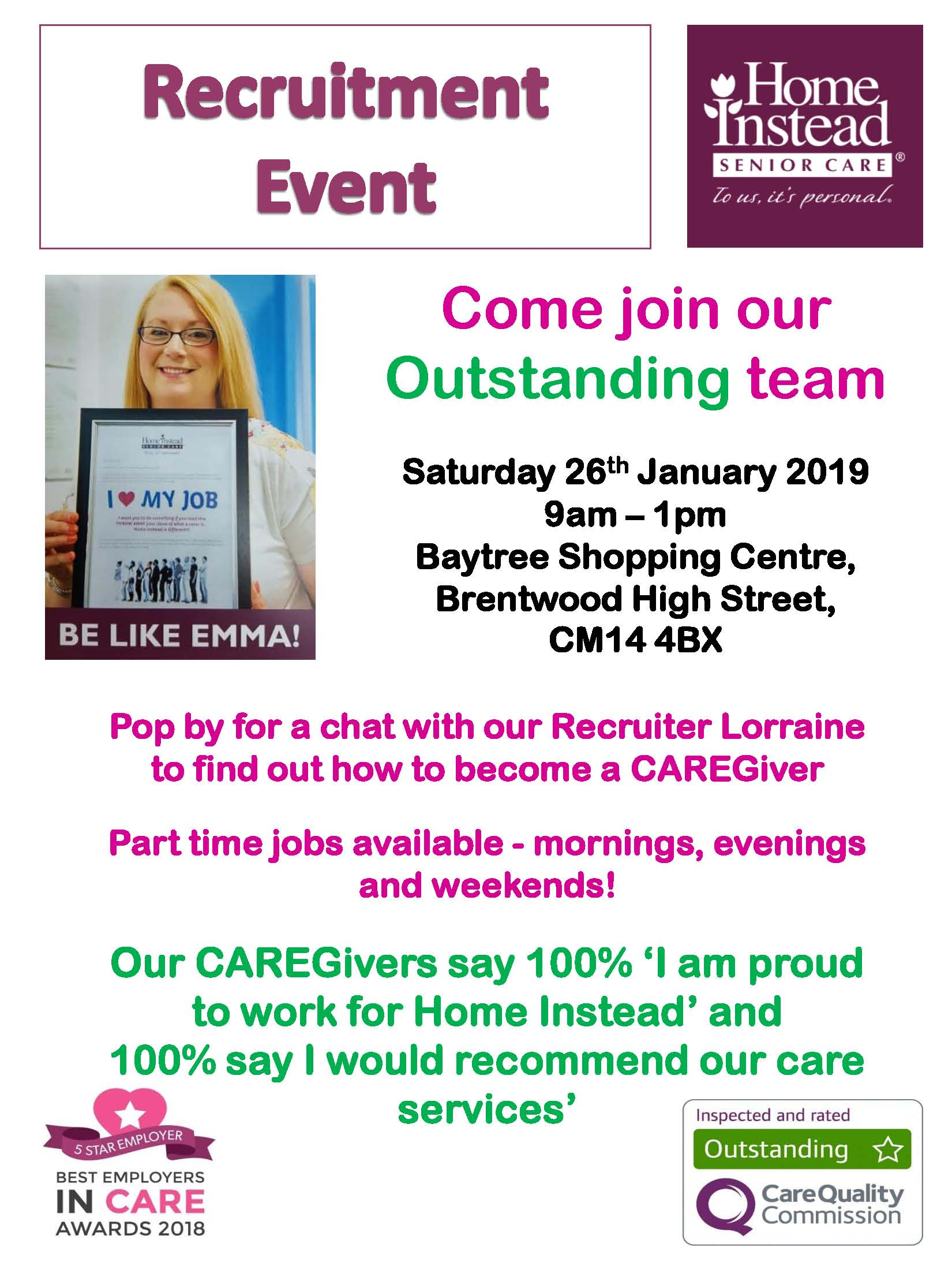 Recruitment Event 26th January at the Baytree centre. 9am - 1pm