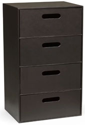Wilko 4 Drawer Faux Leather Storage Chest Brown