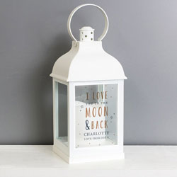Personalised White LED Lantern - To The Moon and Back