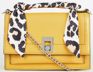 Mustard Leopard Print Scarf Handle Bag