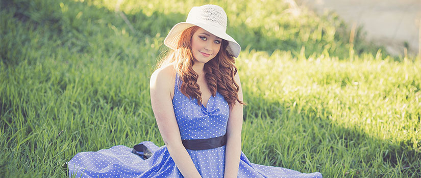Girl in a dress in spring time