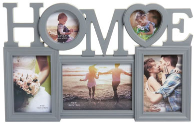 Grey 5 Multi Aperture Home Photo Frame 6 x 4 Inch